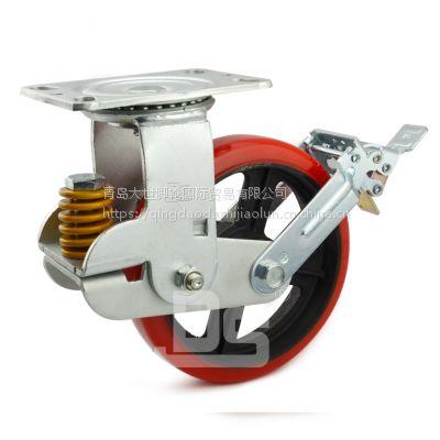 青岛大世脚轮工厂 竖弹簧支架减震缓冲轮子 零件搬运器具用轮