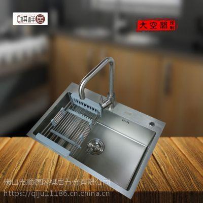 广东祺祥居纳米单槽6845高温喷涂不沾油不锈钢手工洗菜盆水槽厨房用手工盆单池单盆