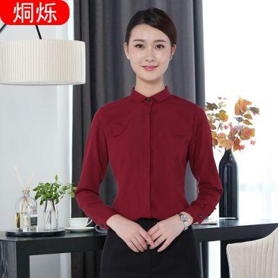 湖南烔烁韩版酒红色职业衬衫暗门襟微弹抗皱女士衬衣 来图来样加工