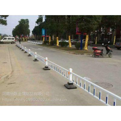 道路护栏隔离栏马路市政蓝白交通护栏小区停车场挡车栏杆锌钢京式护栏