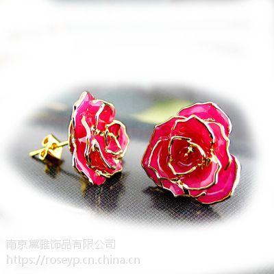 2017新款镀金玫瑰花耳钉 甜美时尚百搭配饰 黛雅厂家批发