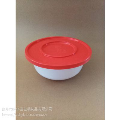 【味千拉面】一次性塑料圆碗1000ML红盖白体PP 可订制LOGO