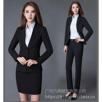 2017职业套装女正装新款气质西服春秋黑色工作服西装套装女