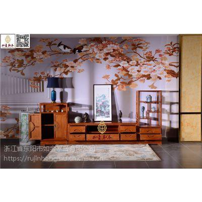 如金红木电视柜-缅甸花梨木电视柜-古典中式视听柜