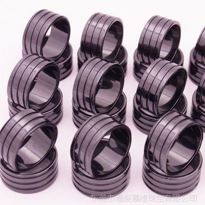 1.6厚三圈戒指正向纹手工抛槽首饰配件陶瓷氧化锆厂家尺寸可定制