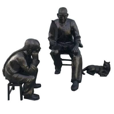 铸铜老爷爷给孙儿讲故事造型雕像玻璃钢清代爷爷孙子聊天雕塑老人孩童小猫铜塑像公园园林树脂摆件