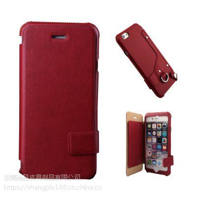 惠州手机保护套工厂仿皮翻盖式卡袋5寸纯色手机保护壳OEM来样订制