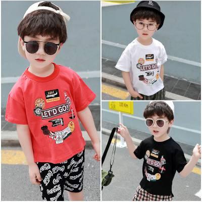 广州哪里有便宜童装T恤批发儿童上衣学生装纯棉t恤圆领印花卡通上衣5元以下