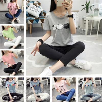 春夏新款女式T恤韩版女装上衣杂款女士短袖清货大版女装2-3元地摊货批发