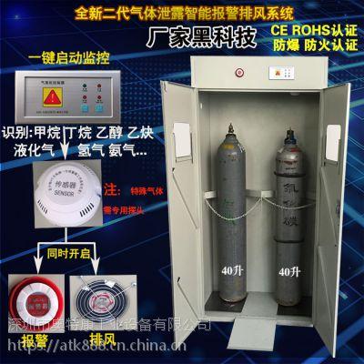 奥特康/ATK双瓶全钢气瓶柜双层智能报警排风防火防爆气瓶柜