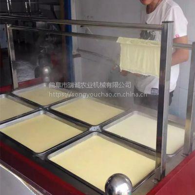 半自动腐竹机生产视频 豆制品加工设备 蒸汽式腐竹油皮机