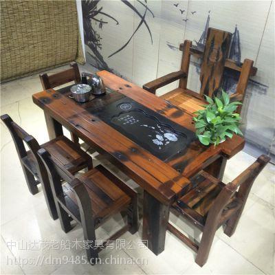 老船木茶桌椅组合办公室茶台现代新中式家具洽谈桌泡茶桌功夫茶几