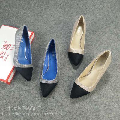品牌库存尖头中跟单鞋女 尖头真皮特价鞋 广州高档气质跟鞋批发