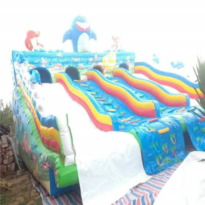 移动水上乐园游乐设备户外大型支架游泳池滑梯儿童充气动漫水世界