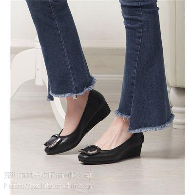 2018夏季新款韩版坡跟女鞋真皮女式休闲小皮鞋软底中跟单鞋