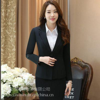 春季长袖女西服OL白领工作服藏蓝色黑色制服职业装女套装批发