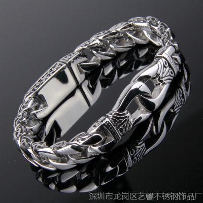 ebay速卖通货源 流行朋克男士复古手链钛钢手链手镯 钢色新款热卖