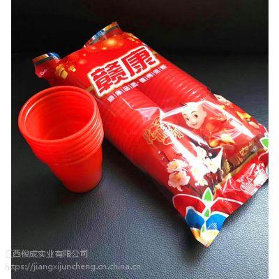 喜庆婚礼婚宴餐具结婚庆用品塑料一次性筷子红勺子对碗大红色杯子