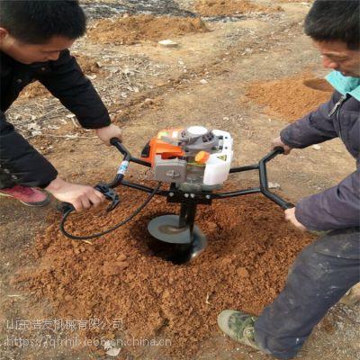 手推带轮子的挖坑机价格 带汽油动力打洞机