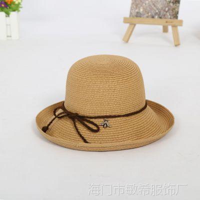 2018新款女士巴拿马大沿草帽小辣椒同款太阳帽纸草草帽旅游沙滩亲