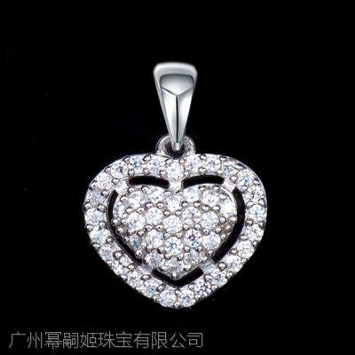 【Miss G】S925银项链女 心形镶嵌吊坠颈链配饰 时尚锆石银饰品定制