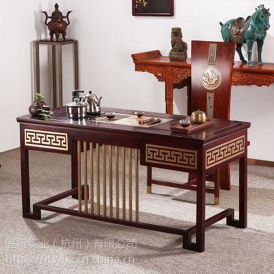 鸿运茶桌纯铜家具新中式纯铜茶盘实木茶几铜古建铜翻新