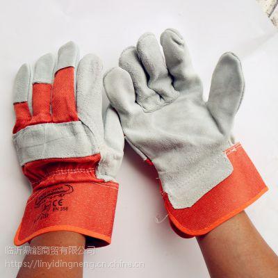 厂家直销黄布二层全掌电焊手套牛皮全掌耐磨隔热防护焊工手套