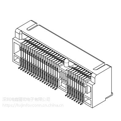 AS0B221-S90Q-7H,MINIPCIE,H9.0,52PIN,SMT,0.7间距,富士康