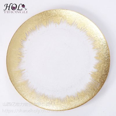 HOLY热销款婚礼家居装饰金箔边玻璃盘