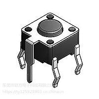 硕方 五脚插件轻触开关TS-1102P外形尺寸:6.0mm*6.0mm*4.3mm