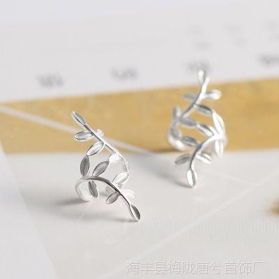 S925纯银饰品树叶子耳夹女气质韩国个性百搭无耳洞耳挂防过敏耳环
