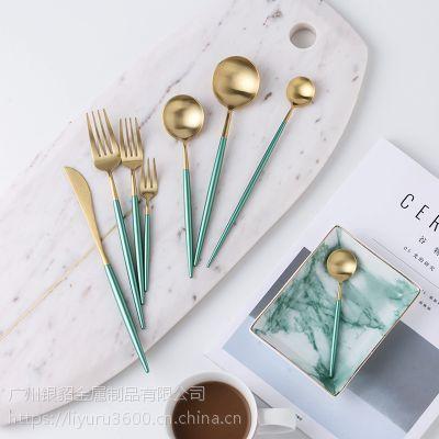 银貂 新品 绿衫军 西餐餐具 不锈钢西餐刀叉 304不锈钢刀叉勺餐具