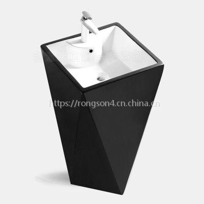 黑色彩金一体成型地面安装立式陶瓷卫浴单孔洗手立柱盆