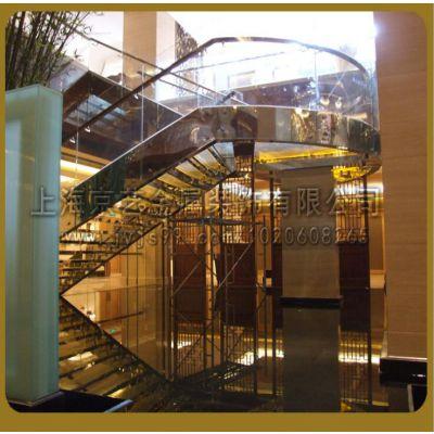 供应京艺直线式旋转式光纤工程发光楼梯不锈钢实木定做楼梯