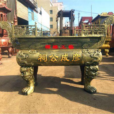 供应宗祠铸铁长方形平口香炉 道观宫观佛堂铸铁香炉价格
