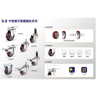 1.5~5寸 中型塑芯聚氨酯轮 耐磨 耐油污 防老化 静音