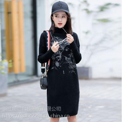 秋冬季新款女式针织羊毛衫时尚高领韩版气质加厚连衣裙毛衣