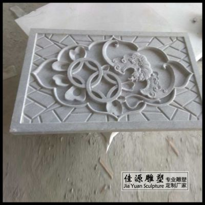 石雕浮雕青石壁画荷花鱼地雕年年有鱼石材地面踏步雕刻精品背景墙