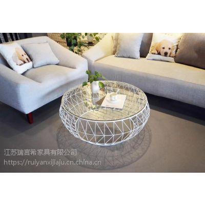 北欧钢化玻璃透明茶几 创意不规则几何异形个性泡茶桌