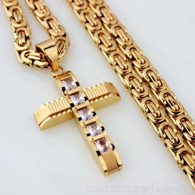 外贸货源批发 男士女士 经典十字架吊坠钛钢不锈钢吊坠项链 配链