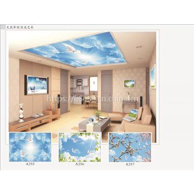 天花墙面蓝天白云壁画定制 集成吊顶壁画定制高档大气立体感强