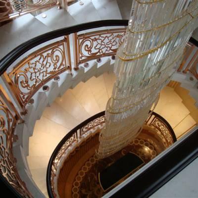 哈尔滨铝板雕刻护栏厂家 铝板玫瑰金上色楼梯扶手