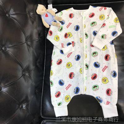 儿童宝宝三层纱布睡袋薄款分腿暖气房睡袋 长袖连体纱布睡衣
