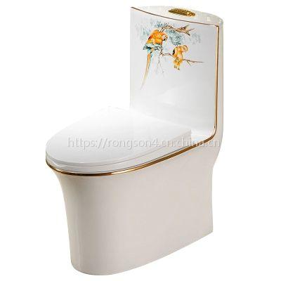 高档彩金欧式新款卫浴陶瓷马桶座便器虹吸式