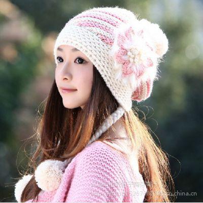手工毛线帽子加绒 秋冬新款女士针织帽 外贸纯色厂家直销低价批发