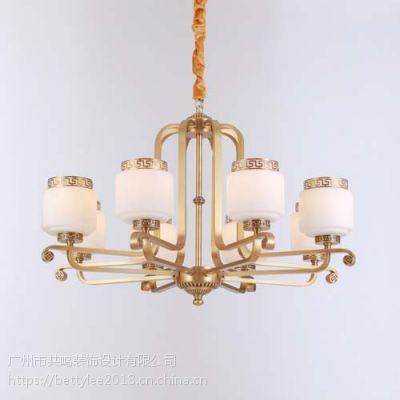 全铜新中式吊灯9083新款别墅复式酒店餐厅现代中式纯铜客厅灯吊灯