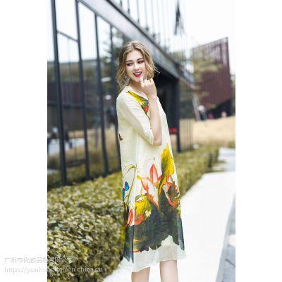 2018新款深圳原创设计真丝连衣裙 夏季时尚女装一手货源走份批发