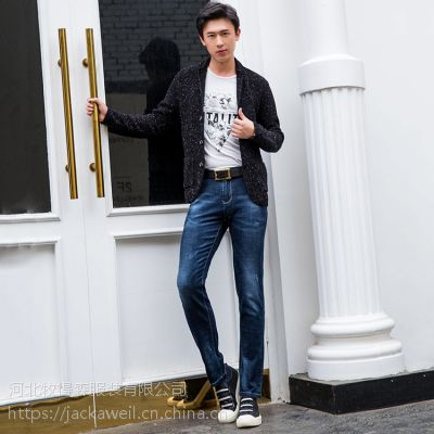 供应杰克威尔奇2018秋冬新款男士正品韩版潮流直筒牛仔长裤8805