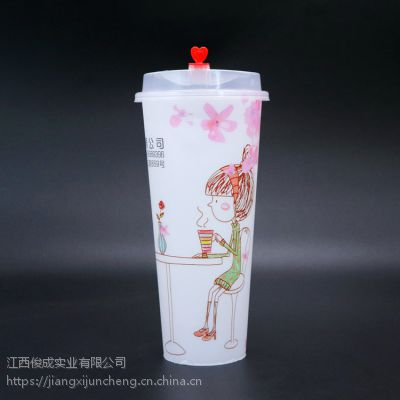 厂家直销膜内贴标奶茶杯IML奶茶杯高透加厚彩印奶茶杯可定制logo