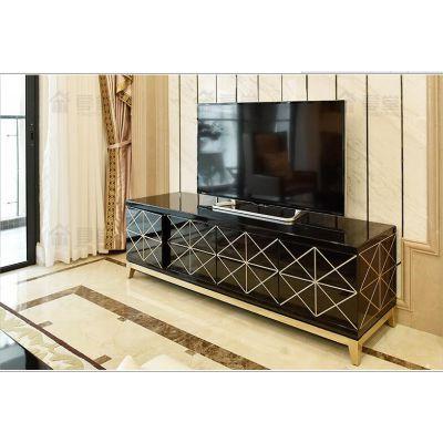 不锈钢描金地柜样板房客厅轻奢风电视柜